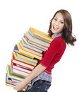 Girl with pile color book . Stock Photography