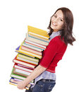 Girl with pile color book . Royalty Free Stock Images