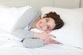 Girl on pillow Royalty Free Stock Photo