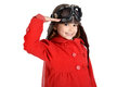 Girl pilot young with goggles and hat isolated in white Stock Image