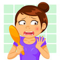 Girl with a pimple Stock Images