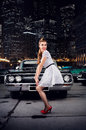 Girl pin-up, retro car,  night city Royalty Free Stock Photo