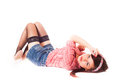 Girl pin up styling on a white background Royalty Free Stock Photo