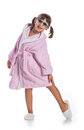 Girl in pink bathrobe Royalty Free Stock Photos