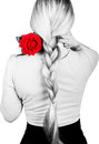 Girl in a pink blouse, her hair braided. on the shoulder of a red rose. back view. isolated on white background. black Royalty Free Stock Photo