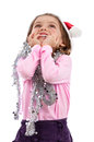 Girl in pink Christmas magic Royalty Free Stock Photos