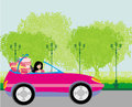 Girl in a pink convertible with gifts illustration Stock Images