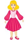 Girl in pink dress little cute cartoon Royalty Free Stock Photo
