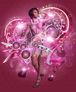 Girl in pink dress on music background Royalty Free Stock Photos