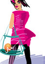 Girl in pink dress shopping with a transparent bag raster illustration on white Stock Photo