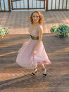 Girl in pink dress style marlin monroe Stock Images