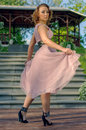 Girl in pink dress style marlin monroe Stock Image