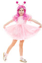 A girl with pink hair in a pink dress dancing Royalty Free Stock Photo
