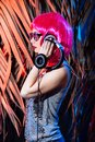 Dj headphone vinyl disk beach plays equipment summer disco girl green tropical party retro vintage pink red leaves desk mixer glam Royalty Free Stock Photo
