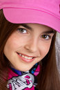 Girl in pink hat Stock Photo