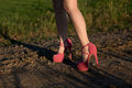 Girl with pink high heels Royalty Free Stock Photo