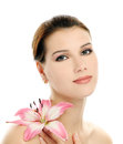 Girl with pink lily Stock Images