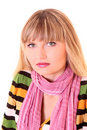 Girl in pink scarf Stock Photos