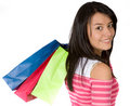 Girl in pink with shopping bags Royalty Free Stock Photo