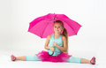 A Girl With A Pink Umbrella Do...