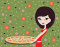 Girl with pizza Royalty Free Stock Photography