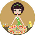 Girl with pizza Stock Photos