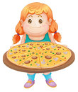 Girl and pizza illustration of on a white background Stock Image