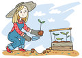 A girl planting sprouts