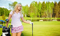 Girl play golf Royalty Free Stock Photo
