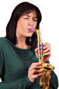 Girl play saxophone Royalty Free Stock Photo
