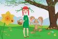 Girl and playful bunny on Easter egg hunt