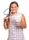 Girl playing badminton Royalty Free Stock Photo