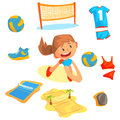 Girl playing with a ball at beach volleyball set for label design. Sports equipment for volleyball. Cartoon detailed