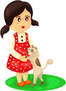 Girl playing with cat illustration of isolated on white Stock Image