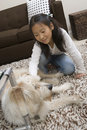 Girl Playing With Dog At Home Royalty Free Stock Photos