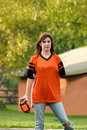 Girl Playing Football Royalty Free Stock Images