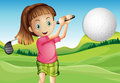 Girl playing golf illustration of a Stock Photography