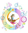 Girl playing guitar abstract background with Stock Image