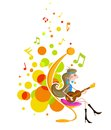 Girl playing guitar abstract background with Royalty Free Stock Image