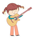 Girl playing guitar on white background
