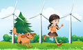 A girl playing with her dog near the windmills illustration of Royalty Free Stock Images
