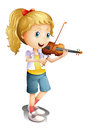 A girl playing with her violin Stock Image