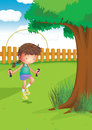 A girl playing with a jumping rope at the garden illustration of Stock Photography