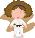 Girl playing koong-foo-karate Royalty Free Stock Photo