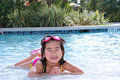 Girl playing in outdoor pool Royalty Free Stock Photography