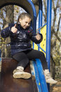 The girl playing on the playground