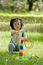 Girl playing quoits Royalty Free Stock Photography