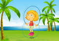 A girl playing skipping rope at the riverside Royalty Free Stock Photo
