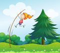 A girl playing with the stick at the hills illustration of Royalty Free Stock Photo