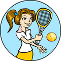 Girl Playing Tennis Stock Photos
